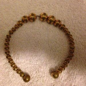 Graduated Brass Bead Bracelet Wire Cuff